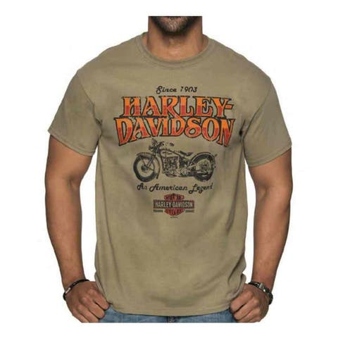 Harley-Davidson Men's Abyss Crew Neck Short Sleeve Cotton T-Shirt - Tan
