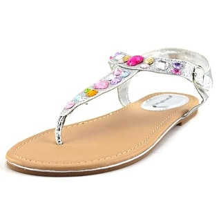 Rampage Girls Brina Youth Open Toe Synthetic Silver Thong Sandal