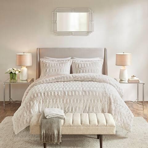 Madison Park Margot Back Print Long Fur Comforteri Set