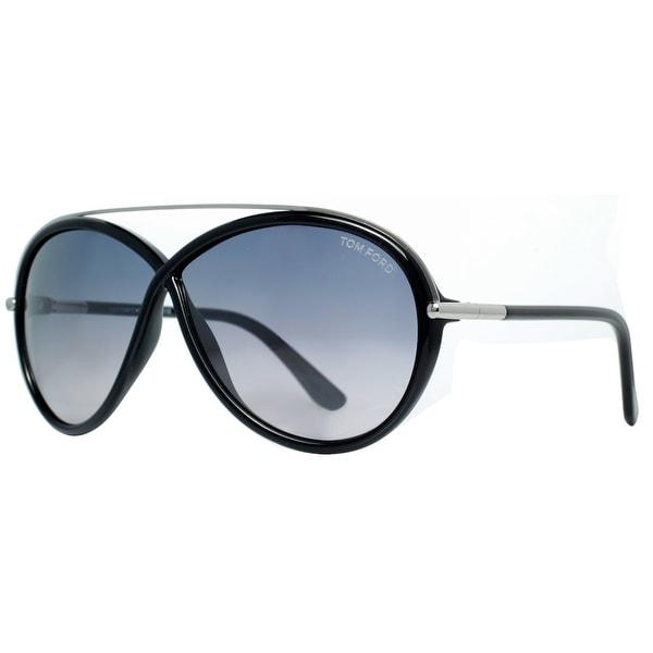 Tom Ford Tamara TF 454 01C Shiny Black/Blue Gradient Women's Oval Sunglasses - Black/Gunmetal - 64mm-5mm-130mm