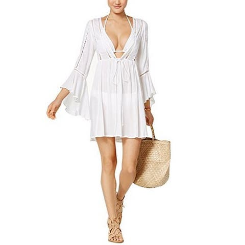 Raviya Women's Lace-Trim Bell-Sleeve Cover-Up White Large