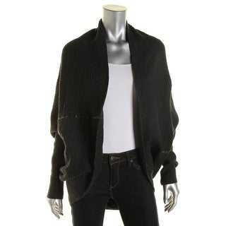 T Tahari Womens Patrice Faux Leather Trim Drapey Cardigan Sweater