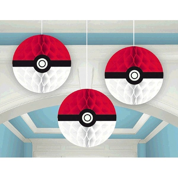 Pokemon Pikachu and Friends Honeycomb Decorations, 3 Count