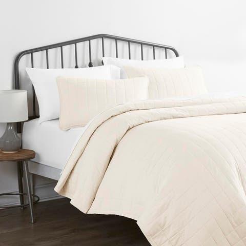 Merit Linens Premium Ultra Soft Square Quilted Coverlet Set