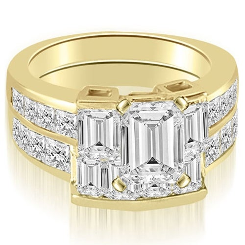 3.30 cttw. 14K Yellow Gold Channel Diamond Princess and Emerald Cut Bridal Set