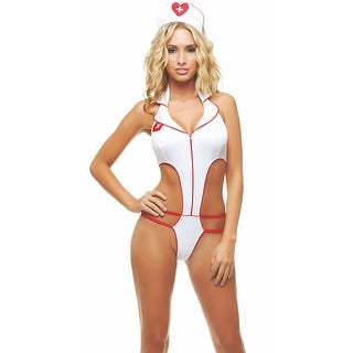 Hot Nurse Bedroom Costume, Hoty Nurse Lingerie - White/Red