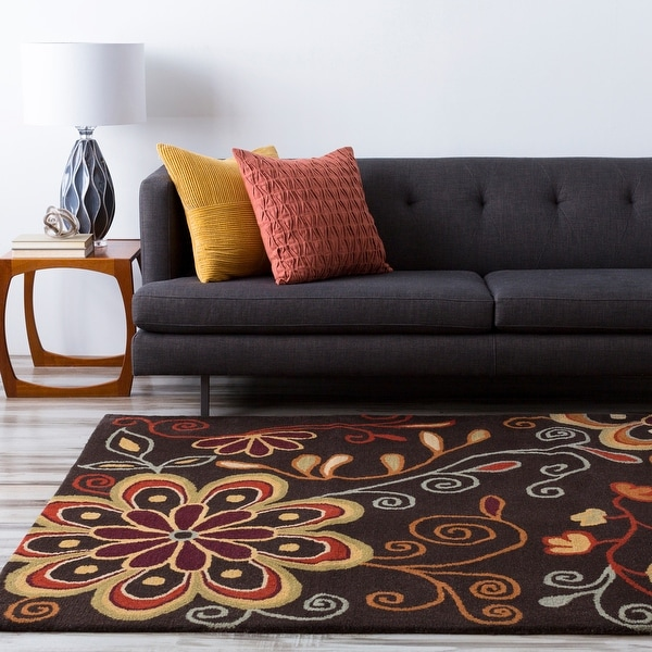 Hand-tufted Peacock Floral Oval Wool Area Rug