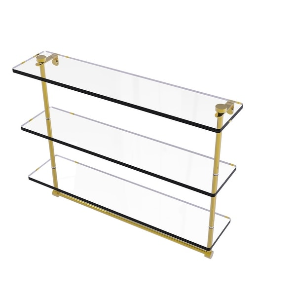 Allied Brass Triple Tiered Glass Shelf with Integrated Towel Bar