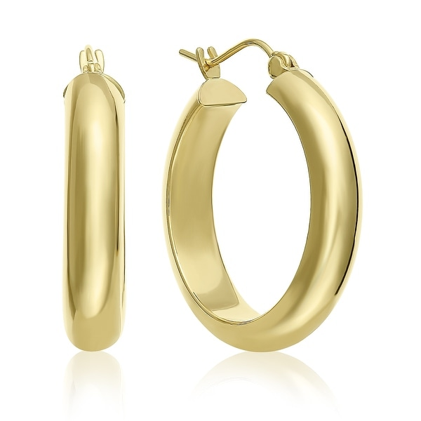 Mcs Jewelry Inc 14 KARAT YELLOW GOLD CLASSIC HOOP EARRINGS HALF ROUND HOOP 25MM