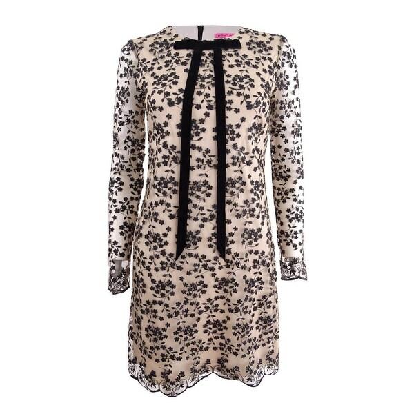 Betsey Johnson Women's Lace Tie-Neck Shift Dress - Black/Natural