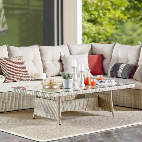 Lawayon Outdoor Wicker Glass Top Coffee Table by Havenside Home