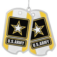 "3"" Yellow, Black, and White US Army Dog Tags Christmas Ornament - black"