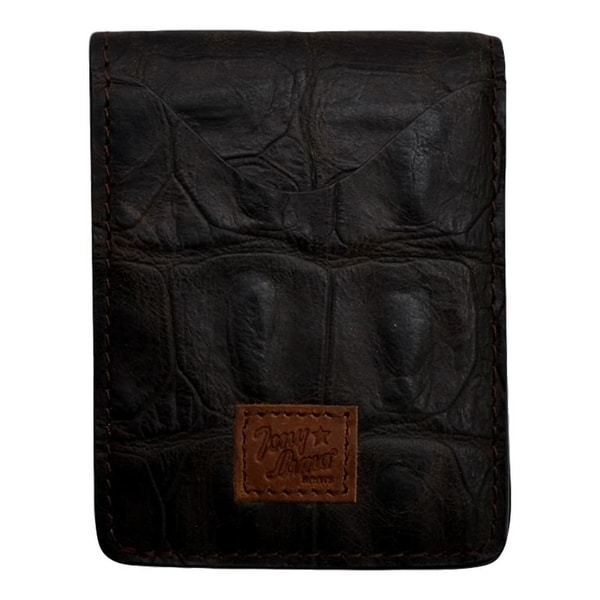 "Tony Lama Western Wallet Mens Money Holder ID Basic Dark Choc - 3"" x 3 7/8"""
