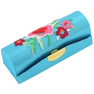 Sky Blue Flower Stitchwork Embroider Lipstick Case Holder Storing Box
