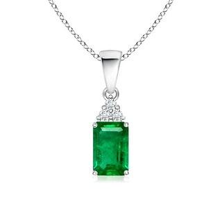 Angara Prong Set Emerald Cut Emerald Pendant with Diamond