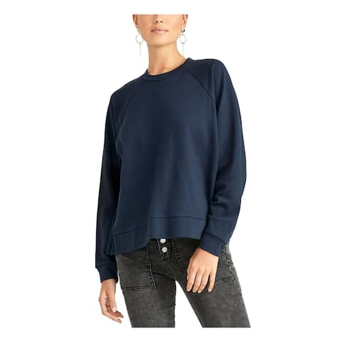 RACHEL ROY Womens Navy Eyelet Long Sleeve Jewel Neck Sweater Size XL