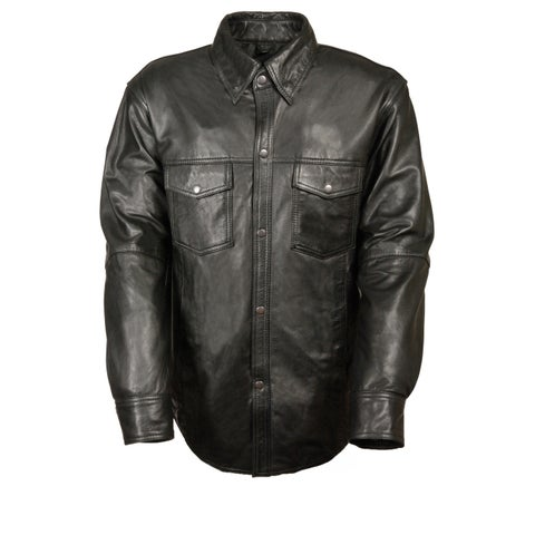 Mens Snap Down Black Leather Shirt