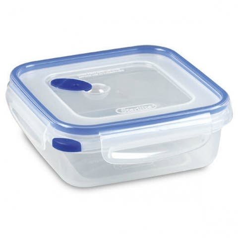 Sterilite 03314706 Ultra-Seal Square Food Storage Container, Clear/Blue, 4-Cup