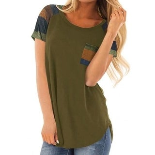 Link to Women's Triple Color Block Stripe T Shirt Short Sleeve Casual Loose Fit Tee Similar Items in Shirts