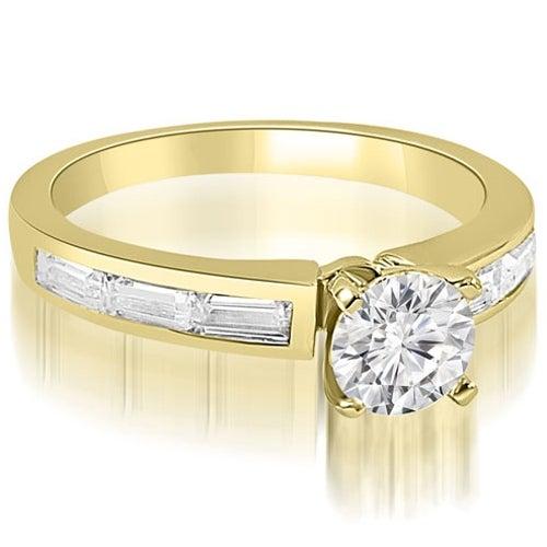 1.75 cttw. 14K Yellow Gold Elegant Round Baguette Cut Diamond Engagement Ring