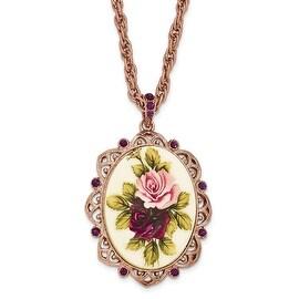 Rosetone Purple Crystal & Acrylic Flower Necklace - 28in