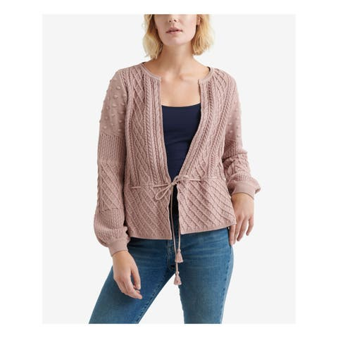 LUCKY BRAND Womens Pink Mixed Pattern Tie Waist Long Sleeve Open Cardigan Sweater Size: M