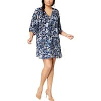 Eyeshadow Womens Plus Casual Dress Floral Print V-Neck