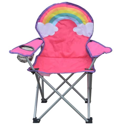 Jeco Kids Outdoor Folding Lawn and Camping Chair with Cup Holder, Rainbow Camp Chair