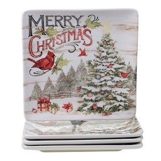 Link to Certified International Evergreen Christmas 10.5-inch Dinner Plates (Set of 4) Similar Items in Christmas Entertaining