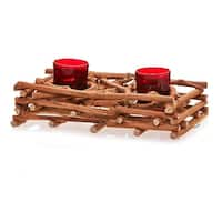 Pack of 2 Country Rustic Natural Brown Wood Branch Christmas Double Candle Holders 10""