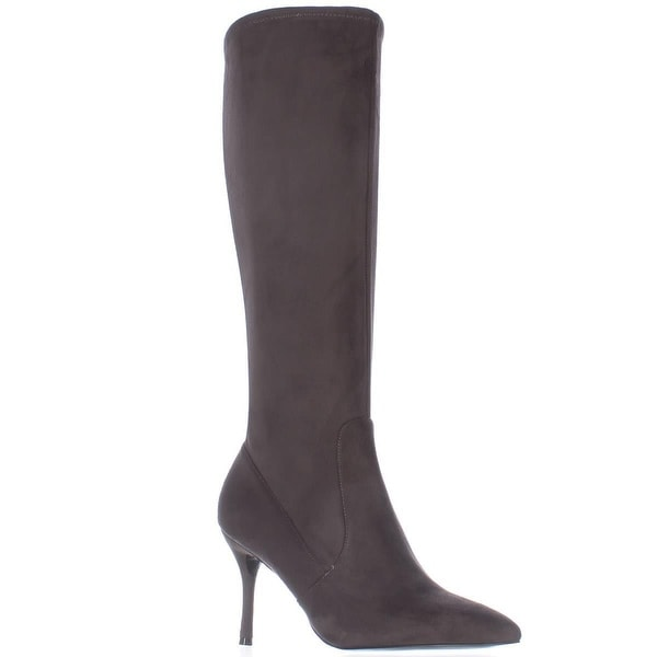Nine West Calla Knee-High Heeled Fashion Dress Boots, Dark Grey