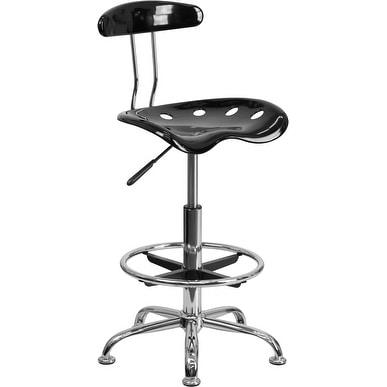 Brittany Black & Chrome Professional Drafting Multipurpose Stool w/Tractor Seat