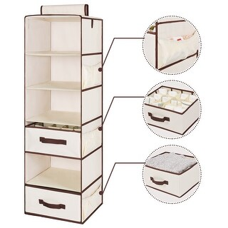 StorageWorks 6-Shelf Hanging Closet Organizers with 1 Drawer, 1 Box Set