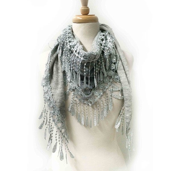 Women's Fancy Lace Fringes Triangle Scarf - Light Gray