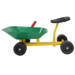 Gymax 8'' Heavy Duty Kids Ride-on Sand Dumper Front Tipping w 4 Wheels Sand Toy Gift - yellow+ black+ green/red