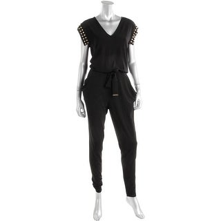 MICHAEL Michael Kors Womens Studded V-Neck Jumpsuit - M