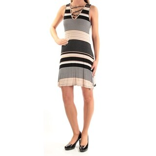 ULTRA FLIRT Womens New 1321 Beige Striped Tie Sheath Dress XS Juniors B+B