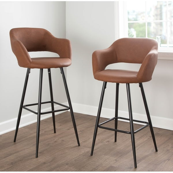 Carson Carrington Vallen Faux Leather Bar Stools (Set of 2) - N/A. Opens flyout.