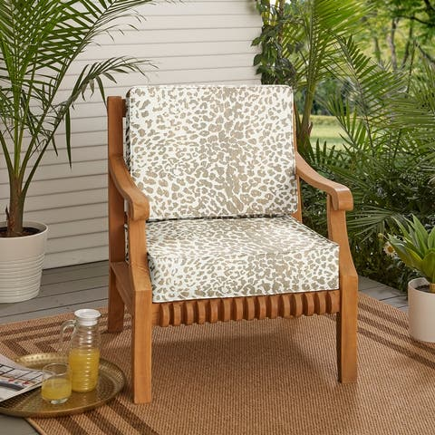 "Sunbrella Tan Leopard Indoor/Outdoor Deep Seating Cushion Set, Corded - 23.5"" x 23"" x 5"""
