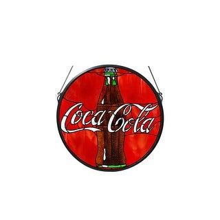 Meyda Tiffany 106226 Button Medallion Stained Glass Window from the Coca-Cola Collection - Black - n/a
