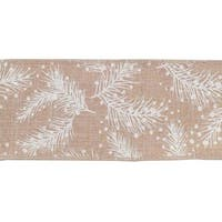Pack of 6 Rustic Brown and White Pine Needles and Snow Wired Polyester Ribbons 360""