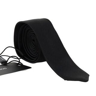 Dolce & Gabbana Black Silk Solid Slim SARTORIA Tie - One Size