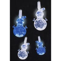 Set of 20 Blue and Pure White LED Snowman Novelty Christmas Lights - White Wire