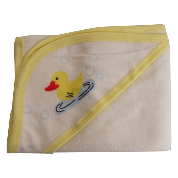 Hooded Towel with Yellow Binding and Screen Prints - Size - One Size - Unisex