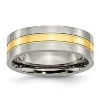 Chisel 14K Gold Plated Grooved Polished Titanium Ring (7.0 mm)