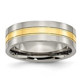Chisel 14K Gold Plated Grooved Polished Titanium Ring (7.0 mm) (More options available)