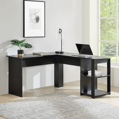Home office L-Shaped Corner Computer Desk/ Study Workstation Furniture with 2 Open Storage Bookshelves