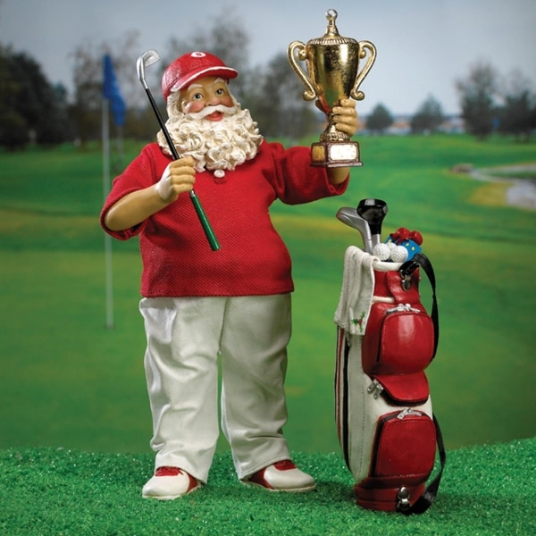 "10"" Fabriché Red and White Golf Champion Christmas Santa Claus Figure with Gold Trophy"