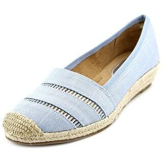 Alfani Urbina Women Open Toe Canvas Blue Wedge Heel