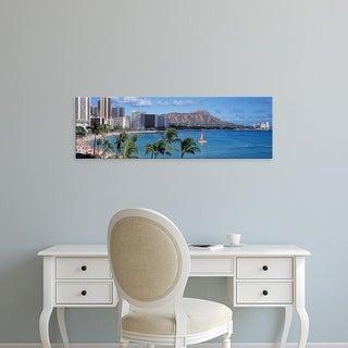Easy Art Prints Panoramic Images's 'Waikiki Beach, Honolulu, Hawaii, USA' Premium Canvas Art